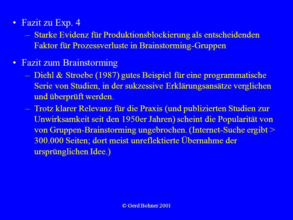 © Gerd Bohner 2001 Fazit zu Exp. 4 –Starke Evidenz für Produktionsblockierung als entscheidenden Faktor für Prozessverluste in Brainstorming-Gruppen F