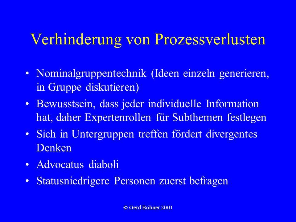 © Gerd Bohner 2001 Verhinderung von Prozessverlusten Nominalgruppentechnik (Ideen einzeln generieren, in Gruppe diskutieren) Bewusstsein, dass jeder i