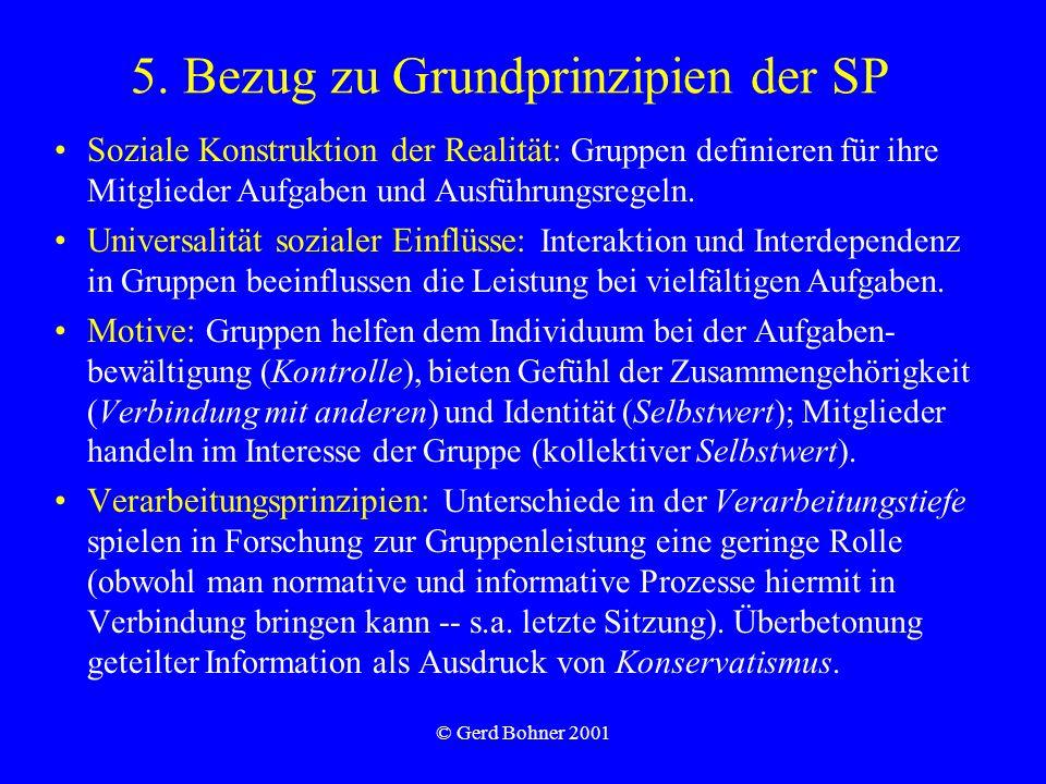 © Gerd Bohner 2001 5. Bezug zu Grundprinzipien der SP Soziale Konstruktion der Realität: Gruppen definieren für ihre Mitglieder Aufgaben und Ausführun