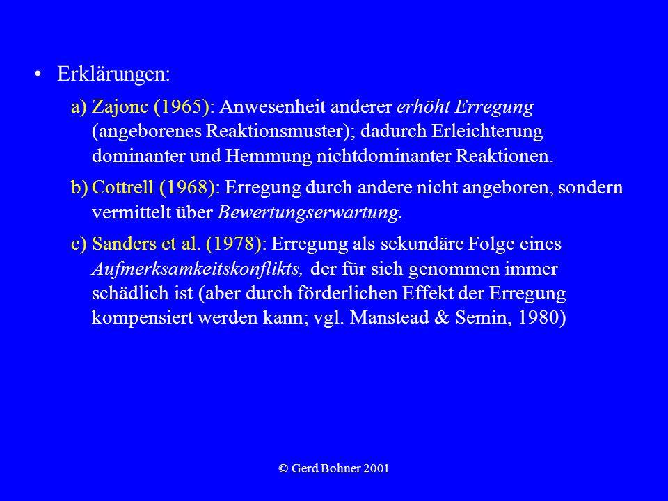 © Gerd Bohner 2001 Erklärungen: a)Zajonc (1965): Anwesenheit anderer erhöht Erregung (angeborenes Reaktionsmuster); dadurch Erleichterung dominanter u