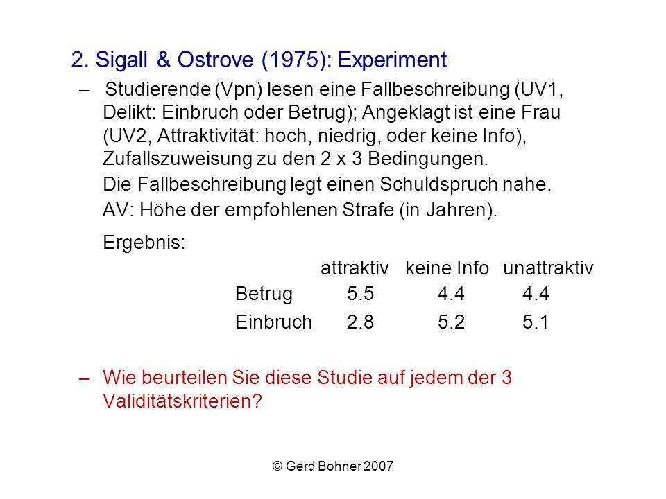 © Gerd Bohner 2007 2. Sigall & Ostrove (1975): Experiment –Studierende (Vpn) lesen eine Fallbeschreibung (UV1, Delikt: Einbruch oder Betrug); Angeklag