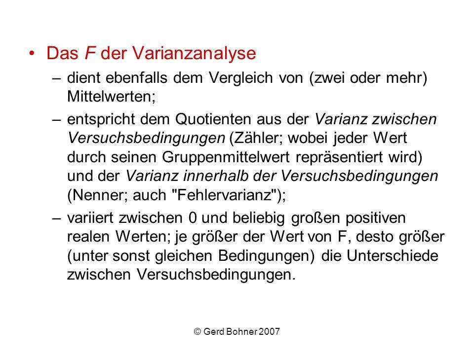 © Gerd Bohner 2007 Das F der Varianzanalyse –dient ebenfalls dem Vergleich von (zwei oder mehr) Mittelwerten; –entspricht dem Quotienten aus der Varia