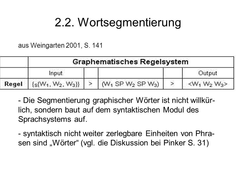 2.2. Wortsegmentierung aus Weingarten 2001, S. 141 - Die Segmentierung graphischer Wörter ist nicht willkür- lich, sondern baut auf dem syntaktischen