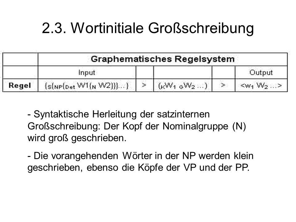 2.3. Wortinitiale Großschreibung - Syntaktische Herleitung der satzinternen Großschreibung: Der Kopf der Nominalgruppe (N) wird groß geschrieben. - Di