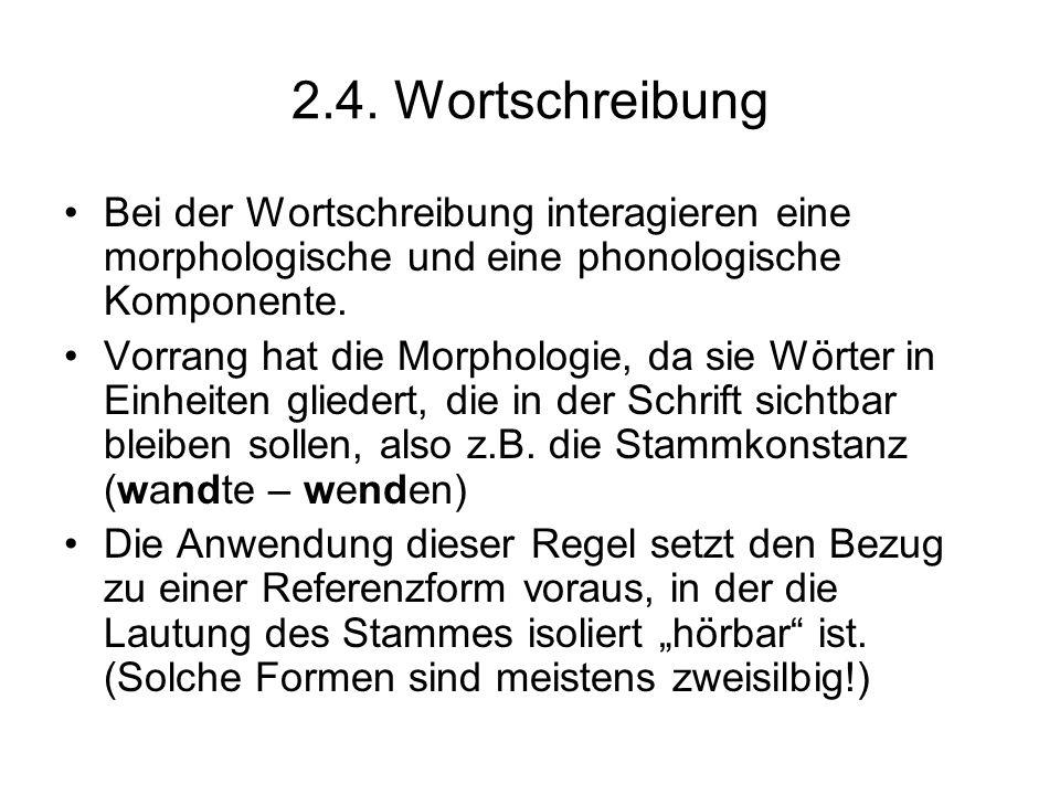 2.4. Wortschreibung Bei der Wortschreibung interagieren eine morphologische und eine phonologische Komponente. Vorrang hat die Morphologie, da sie Wör