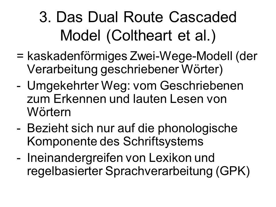 3. Das Dual Route Cascaded Model (Coltheart et al.) = kaskadenförmiges Zwei-Wege-Modell (der Verarbeitung geschriebener Wörter) -Umgekehrter Weg: vom