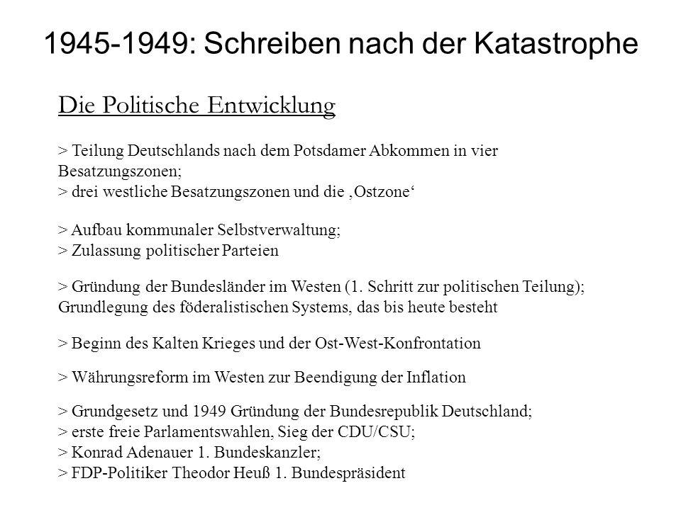 Die Politische Entwicklung > Teilung Deutschlands nach dem Potsdamer Abkommen in vier Besatzungszonen; > drei westliche Besatzungszonen und die Ostzon