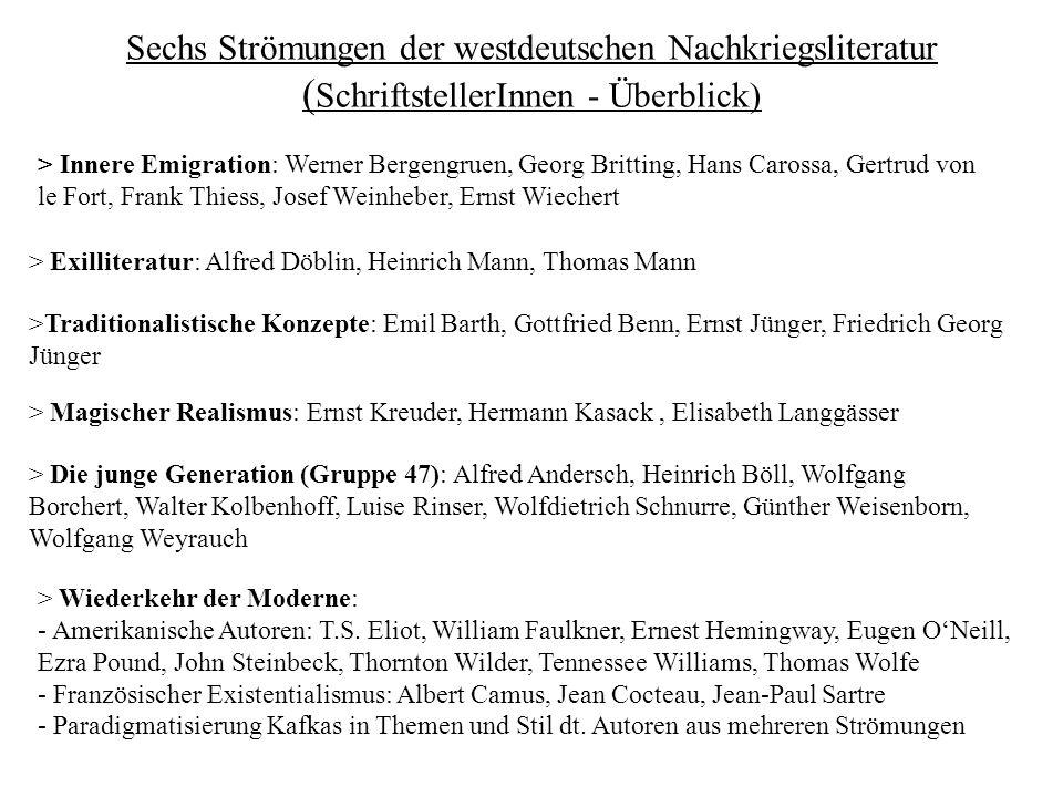 Sechs Strömungen der westdeutschen Nachkriegsliteratur ( SchriftstellerInnen - Überblick) > Magischer Realismus: Ernst Kreuder, Hermann Kasack, Elisab