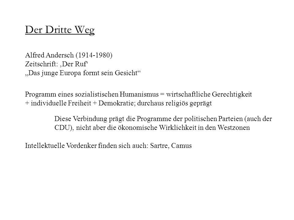 Der Dritte Weg Alfred Andersch (1914-1980) Zeitschrift: Der Ruf Das junge Europa formt sein Gesicht Programm eines sozialistischen Humanismus = wirtsc