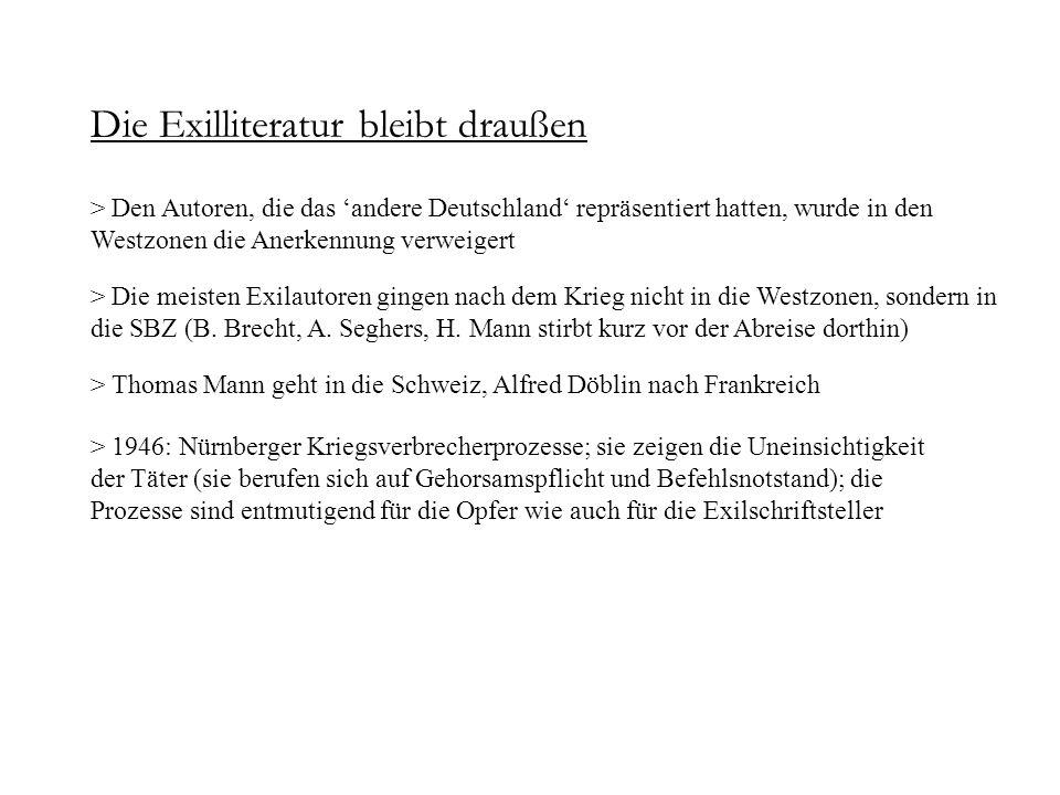 Die Exilliteratur bleibt draußen > Die meisten Exilautoren gingen nach dem Krieg nicht in die Westzonen, sondern in die SBZ (B. Brecht, A. Seghers, H.