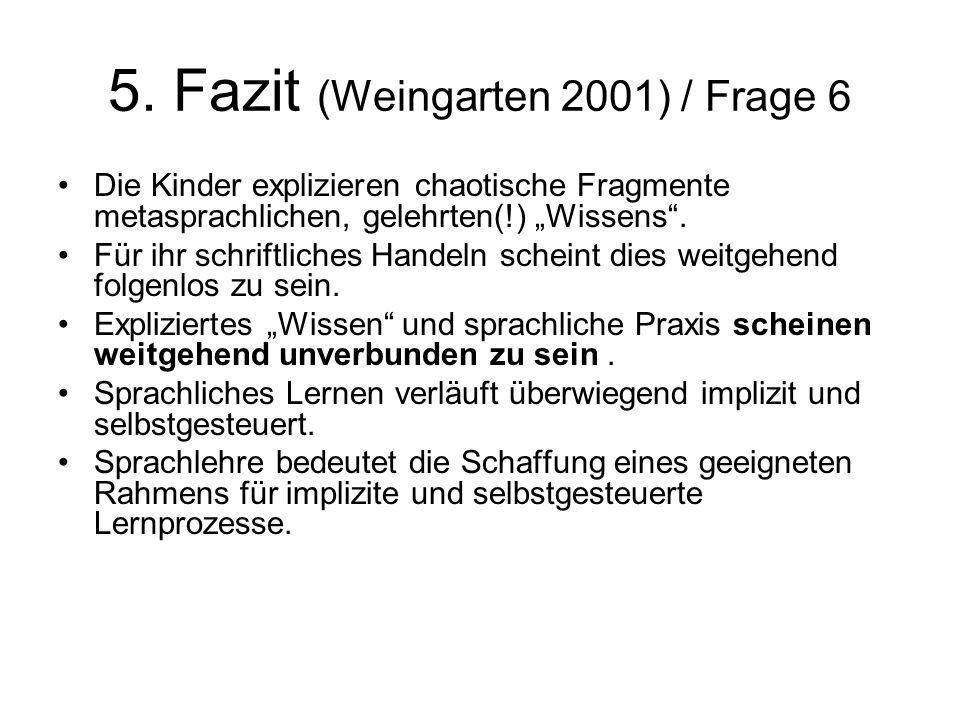 5. Fazit (Weingarten 2001) / Frage 6 Die Kinder explizieren chaotische Fragmente metasprachlichen, gelehrten(!) Wissens. Für ihr schriftliches Handeln