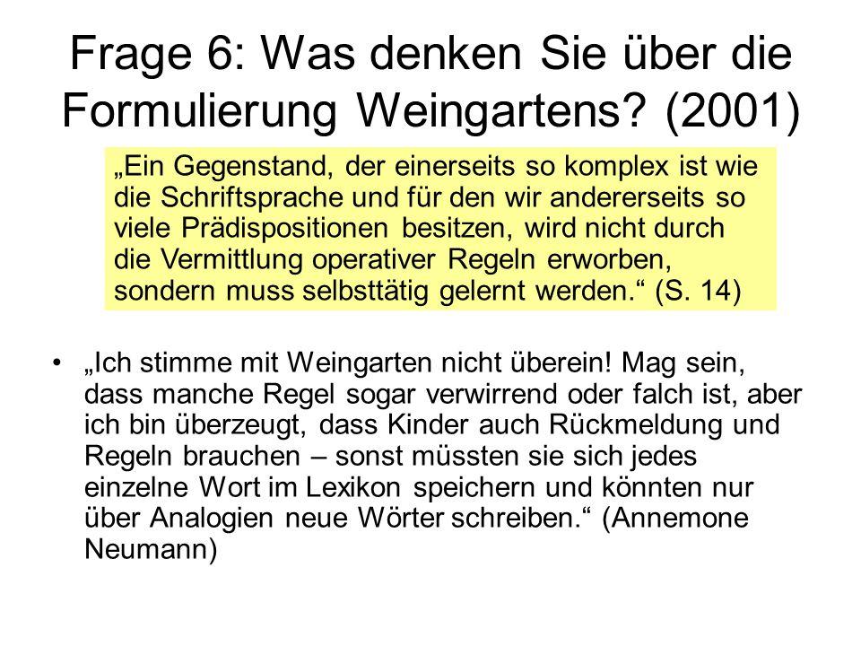 Frage 6: Was denken Sie über die Formulierung Weingartens? (2001) Ich stimme mit Weingarten nicht überein! Mag sein, dass manche Regel sogar verwirren