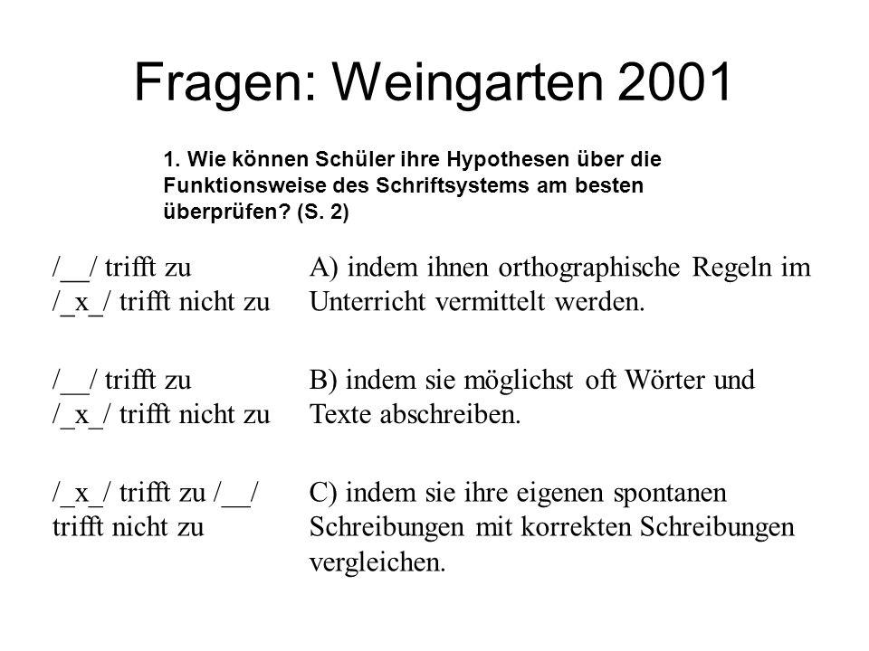 Fragen: Weingarten 2001 /__/ trifft zu /_x_/ trifft nicht zu A) indem ihnen orthographische Regeln im Unterricht vermittelt werden. /__/ trifft zu /_x