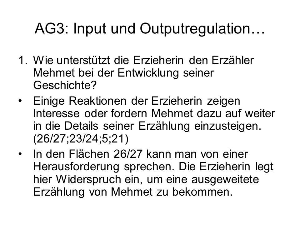 AG3: Input und Outputregulation… 1.Wie unterstützt die Erzieherin den Erzähler Mehmet bei der Entwicklung seiner Geschichte? Einige Reaktionen der Erz
