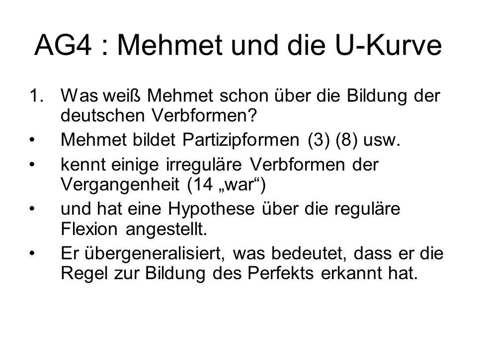 AG4 : Mehmet und die U-Kurve 1.Was weiß Mehmet schon über die Bildung der deutschen Verbformen? Mehmet bildet Partizipformen (3) (8) usw. kennt einige
