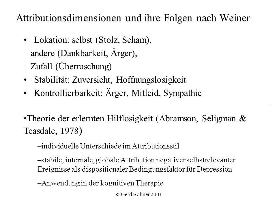 © Gerd Bohner 2001 Attributionsdimensionen und ihre Folgen nach Weiner Lokation: selbst (Stolz, Scham), andere (Dankbarkeit, Ärger), Zufall (Überrasch