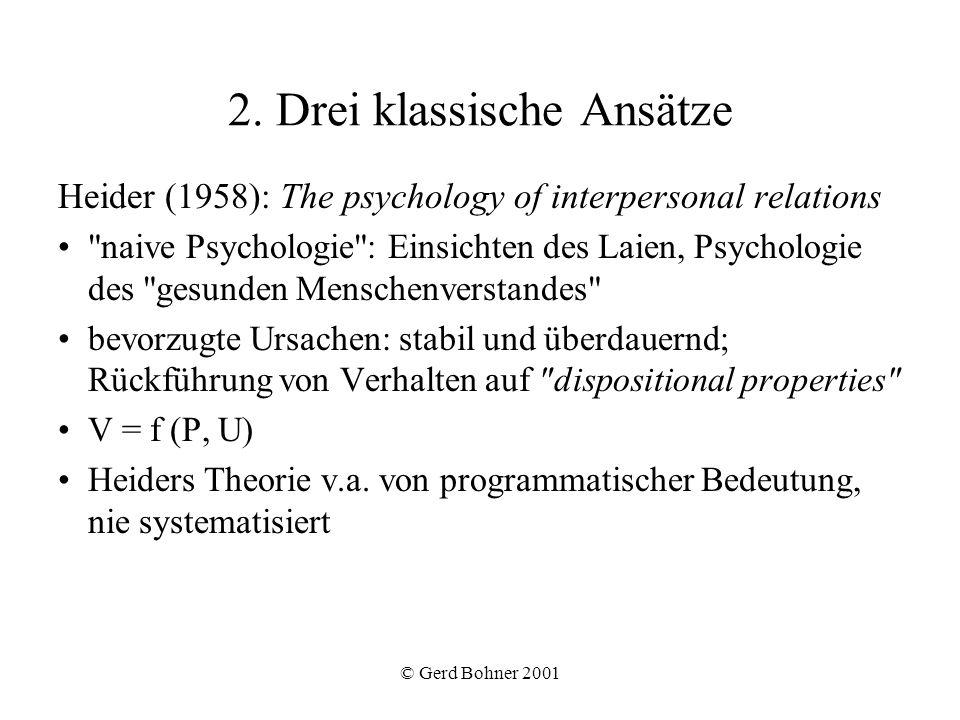 © Gerd Bohner 2001 Jones & Davis (1965): Theorie der korrespondierenden Schlussfolgerungen Zwei Stufen: 1.Zuschreibung von Intention (Wissen, Fähigkeit, Wahlfreiheit) 2.Zuschreibung einer Disposition (eigtl.