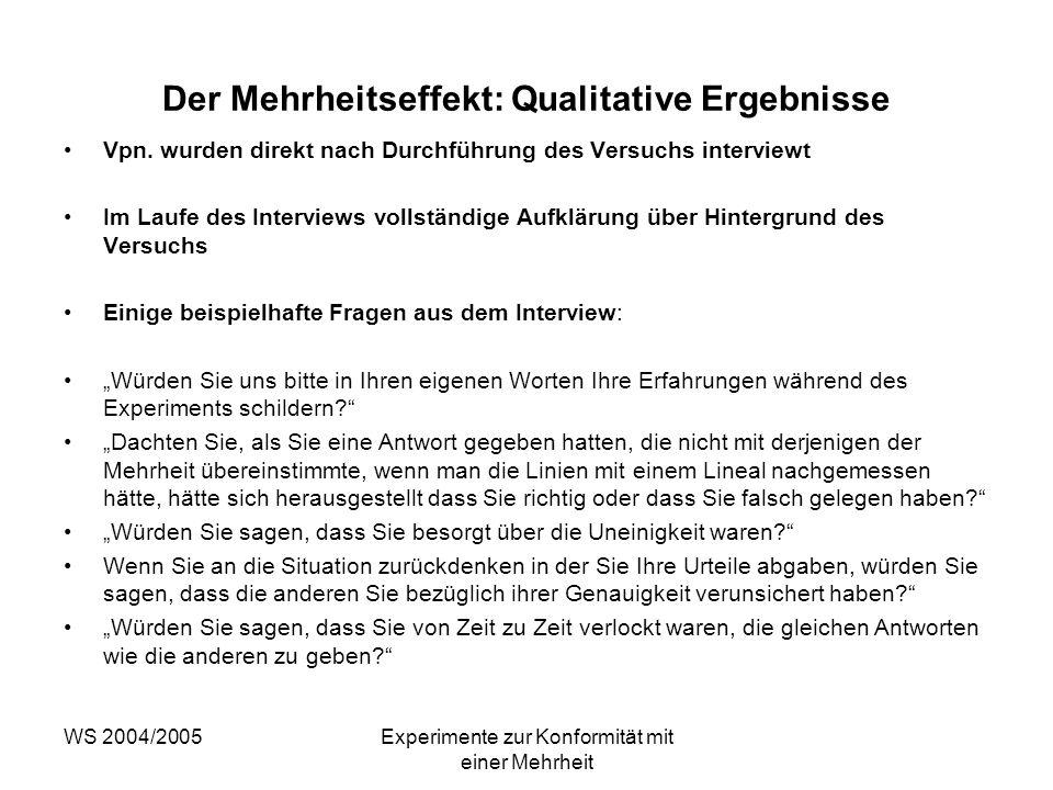 WS 2004/2005Experimente zur Konformität mit einer Mehrheit Der Mehrheitseffekt: Qualitative Ergebnisse Vpn. wurden direkt nach Durchführung des Versuc