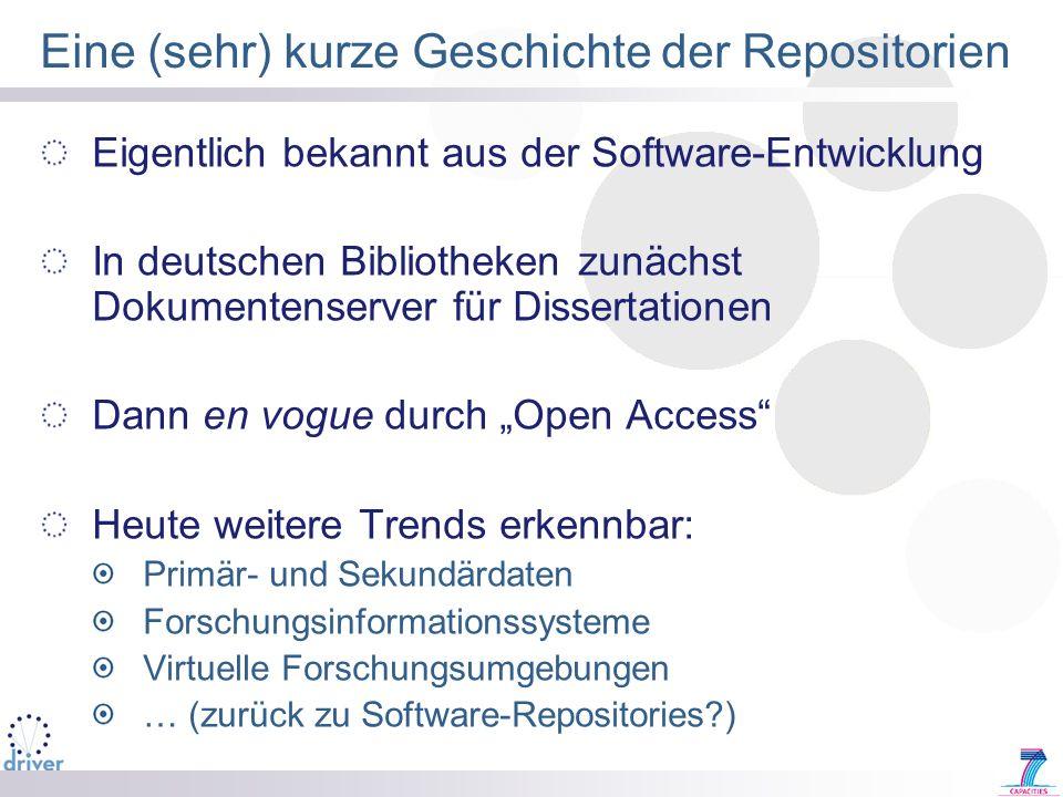Eine (sehr) kurze Geschichte der Repositorien Eigentlich bekannt aus der Software-Entwicklung In deutschen Bibliotheken zunächst Dokumentenserver für
