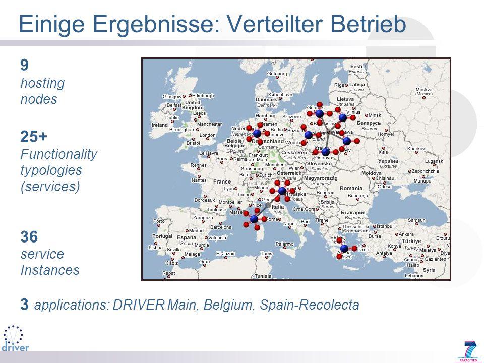 Einige Ergebnisse: Verteilter Betrieb 9 hosting nodes 25+ Functionality typologies (services) 36 service Instances 3 applications: DRIVER Main, Belgiu