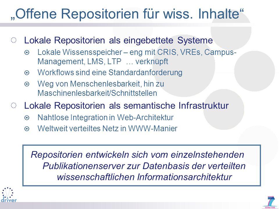 Offene Repositorien für wiss. Inhalte Lokale Repositorien als eingebettete Systeme Lokale Wissensspeicher – eng mit CRIS, VREs, Campus- Management, LM