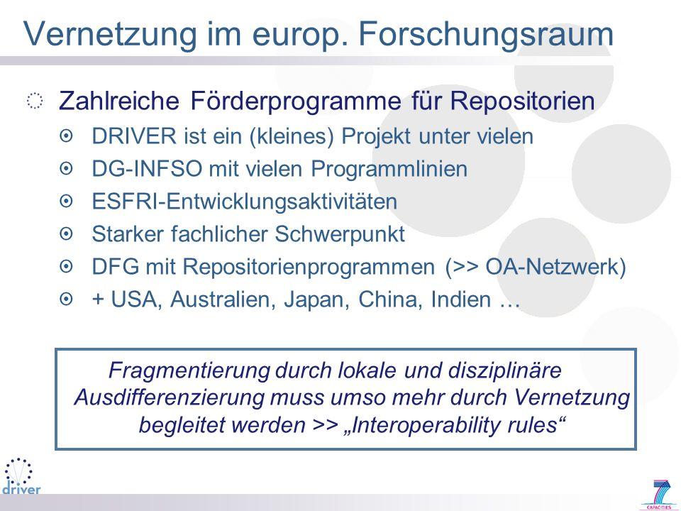 Vernetzung im europ. Forschungsraum Zahlreiche Förderprogramme für Repositorien DRIVER ist ein (kleines) Projekt unter vielen DG-INFSO mit vielen Prog