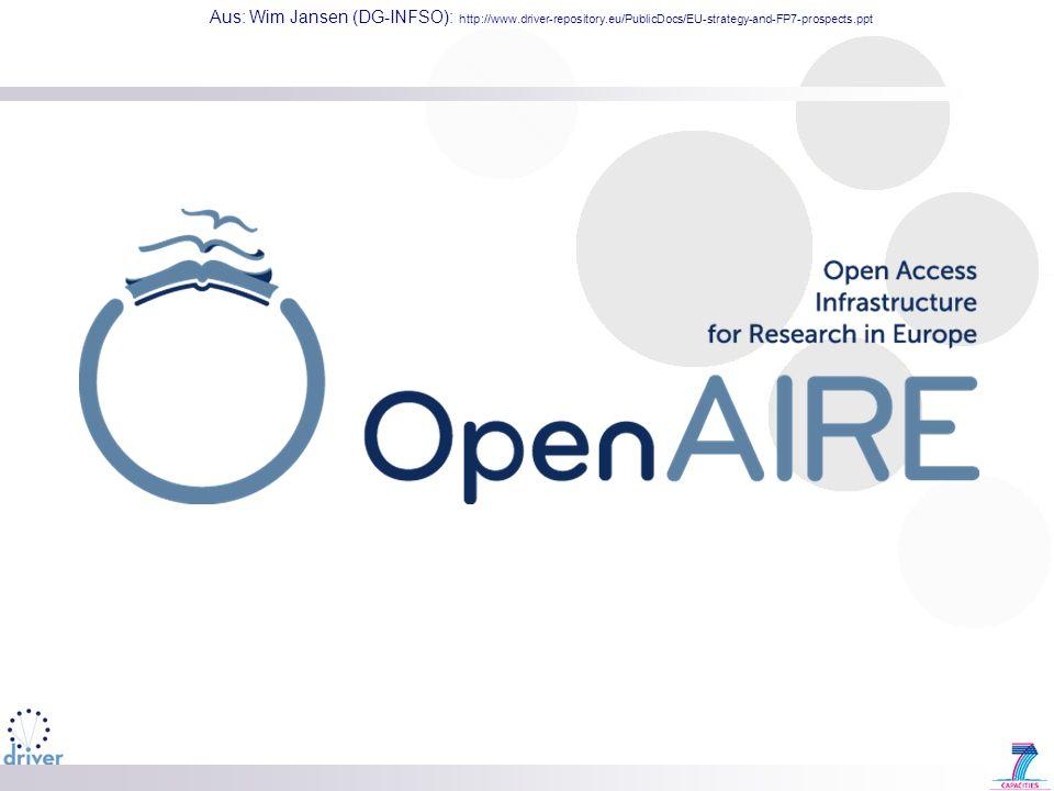 Aus: Wim Jansen (DG-INFSO): http://www.driver-repository.eu/PublicDocs/EU-strategy-and-FP7-prospects.ppt