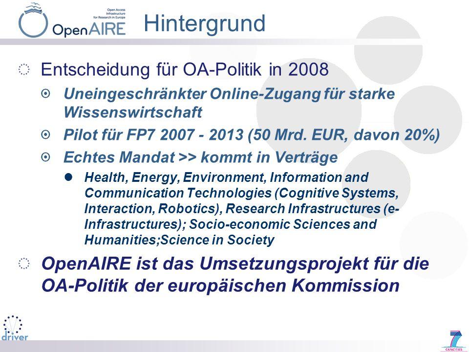 Hintergrund Entscheidung für OA-Politik in 2008 Uneingeschränkter Online-Zugang für starke Wissenswirtschaft Pilot für FP7 2007 - 2013 (50 Mrd. EUR, d