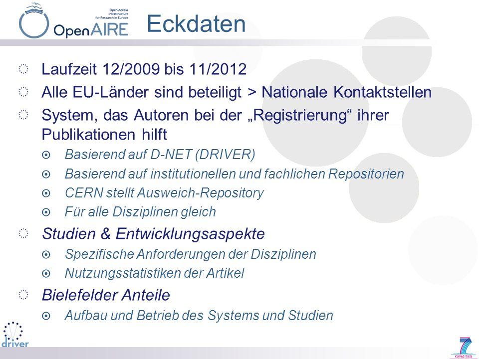Eckdaten Laufzeit 12/2009 bis 11/2012 Alle EU-Länder sind beteiligt > Nationale Kontaktstellen System, das Autoren bei der Registrierung ihrer Publika