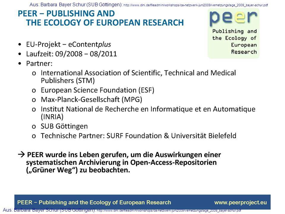 Aus: Barbara Bayer Schur (SUB Göttingen): http://www.dini.de/fileadmin/workshops/oa-netzwerk-juni2009/vernetzungstage_2009_bayer-schur.pdf