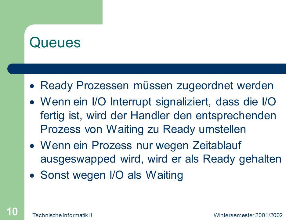 Wintersemester 2001/2002Technische Informatik II 10 Queues Ready Prozessen müssen zugeordnet werden Wenn ein I/O Interrupt signaliziert, dass die I/O fertig ist, wird der Handler den entsprechenden Prozess von Waiting zu Ready umstellen Wenn ein Prozess nur wegen Zeitablauf ausgeswapped wird, wird er als Ready gehalten Sonst wegen I/O als Waiting