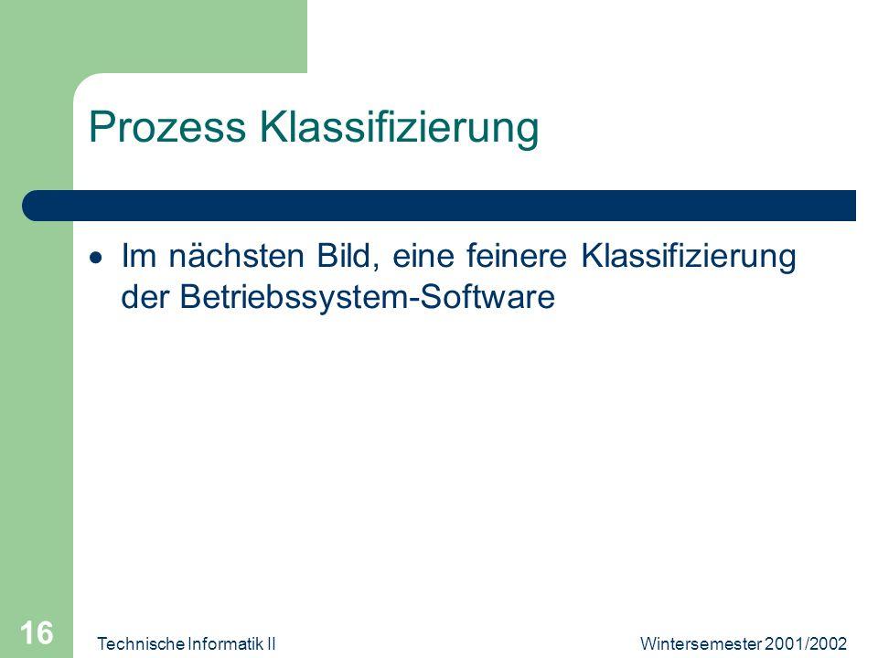 Wintersemester 2001/2002Technische Informatik II 16 Prozess Klassifizierung Im nächsten Bild, eine feinere Klassifizierung der Betriebssystem-Software