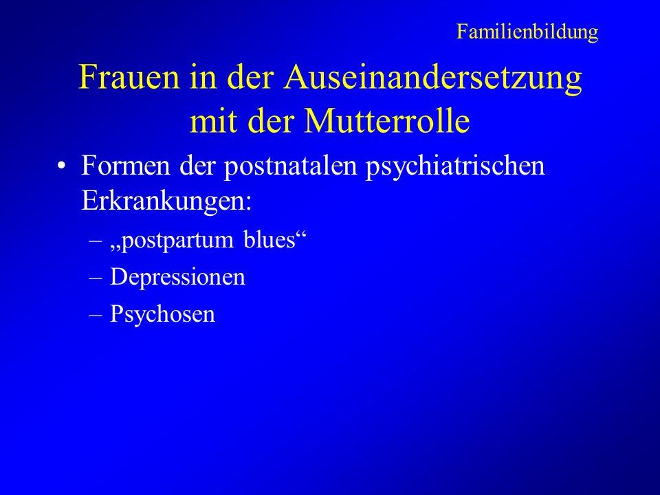 Frauen in der Auseinandersetzung mit der Mutterrolle Formen der postnatalen psychiatrischen Erkrankungen: –postpartum blues –Depressionen –Psychosen Familienbildung