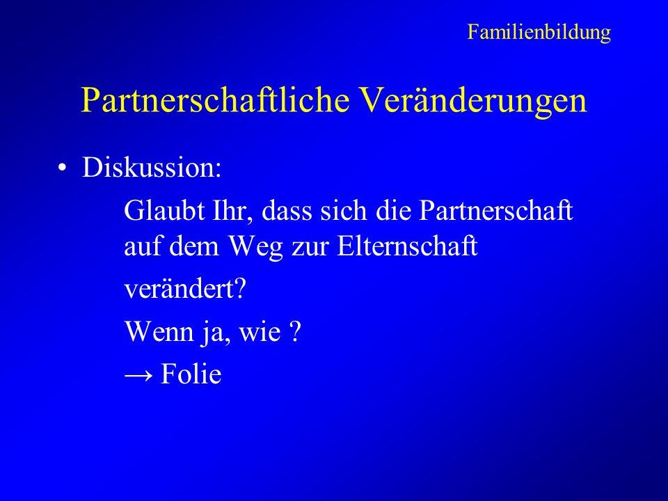 Partnerschaftliche Veränderungen Diskussion: Glaubt Ihr, dass sich die Partnerschaft auf dem Weg zur Elternschaft verändert.