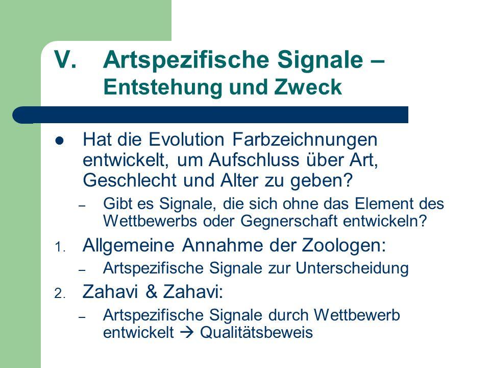 V.Artspezifische Signale – Entstehung und Zweck Hat die Evolution Farbzeichnungen entwickelt, um Aufschluss über Art, Geschlecht und Alter zu geben? –