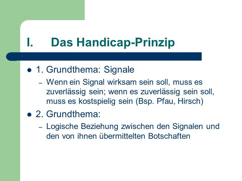 I.Das Handicap-Prinzip 1. Grundthema: Signale – Wenn ein Signal wirksam sein soll, muss es zuverlässig sein; wenn es zuverlässig sein soll, muss es ko