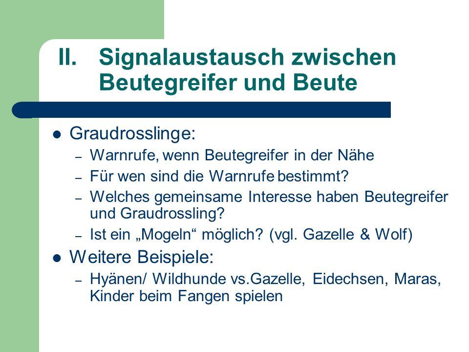 II.Signalaustausch zwischen Beutegreifer und Beute Graudrosslinge: – Warnrufe, wenn Beutegreifer in der Nähe – Für wen sind die Warnrufe bestimmt? – W