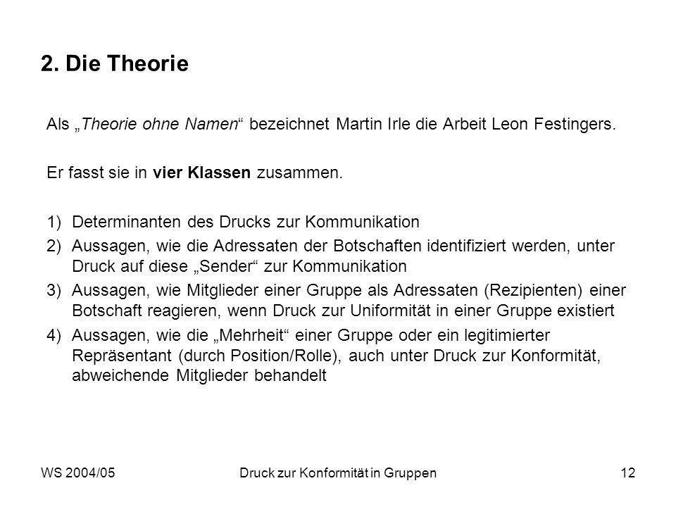 WS 2004/05Druck zur Konformität in Gruppen12 2. Die Theorie Als Theorie ohne Namen bezeichnet Martin Irle die Arbeit Leon Festingers. Er fasst sie in