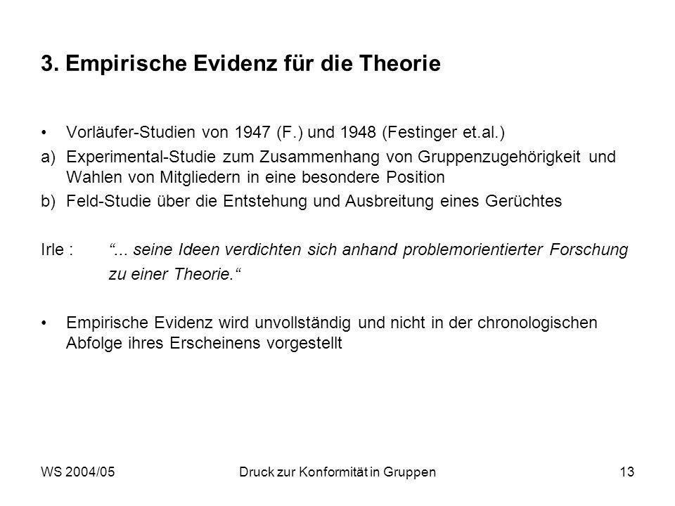 WS 2004/05Druck zur Konformität in Gruppen13 3. Empirische Evidenz für die Theorie Vorläufer-Studien von 1947 (F.) und 1948 (Festinger et.al.) a)Exper