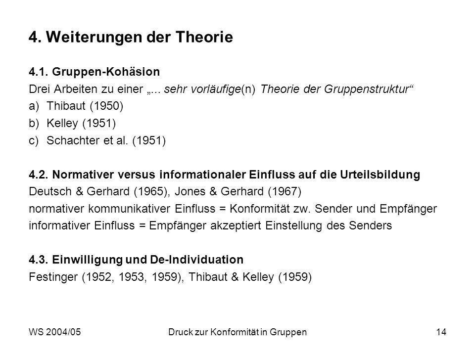 WS 2004/05Druck zur Konformität in Gruppen14 4. Weiterungen der Theorie 4.1. Gruppen-Kohäsion Drei Arbeiten zu einer... sehr vorläufige(n) Theorie der