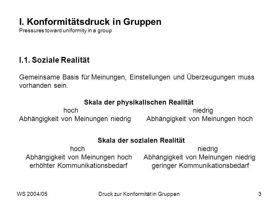 WS 2004/05Druck zur Konformität in Gruppen3 I.
