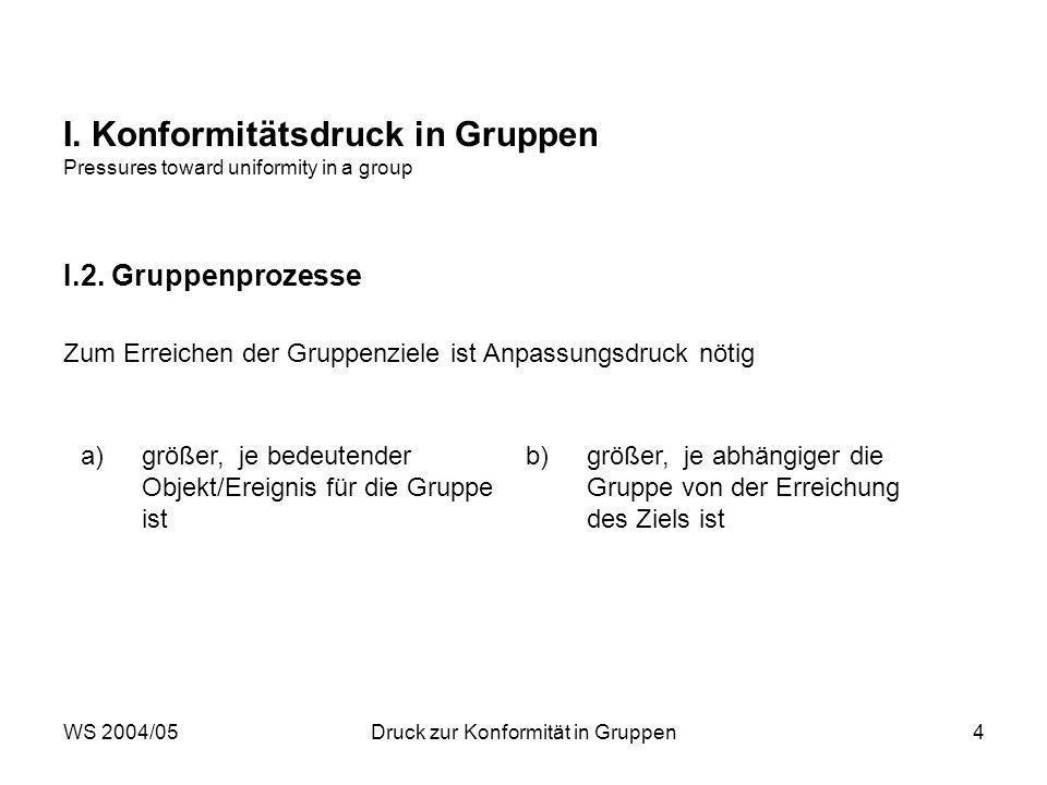 WS 2004/05Druck zur Konformität in Gruppen4 I. Konformitätsdruck in Gruppen Pressures toward uniformity in a group I.2. Gruppenprozesse Zum Erreichen