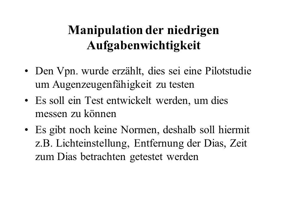 Manipulation der niedrigen Aufgabenwichtigkeit Den Vpn.