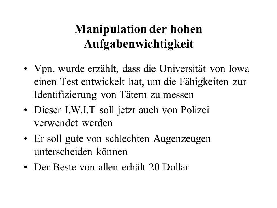 Manipulation der hohen Aufgabenwichtigkeit Vpn.