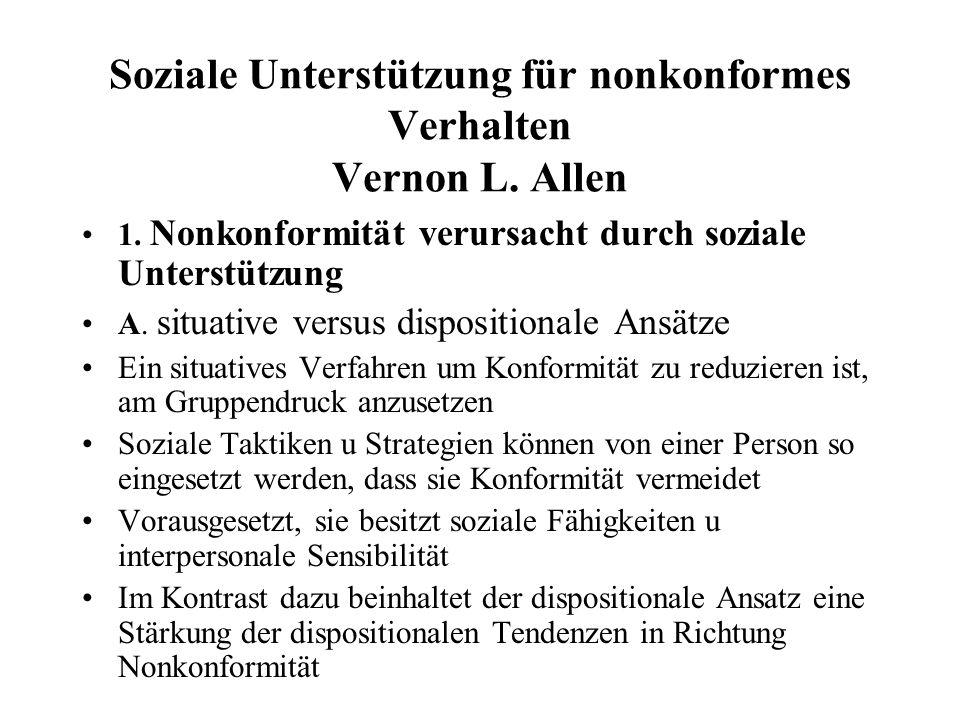 Soziale Unterstützung für nonkonformes Verhalten Vernon L.