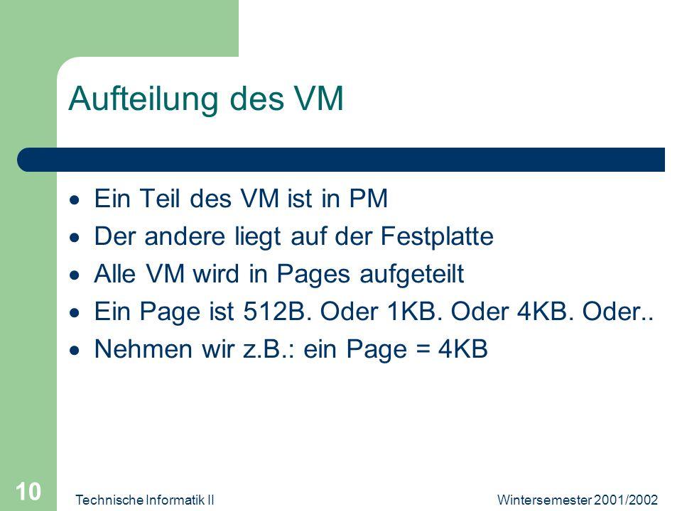 Wintersemester 2001/2002Technische Informatik II 10 Aufteilung des VM Ein Teil des VM ist in PM Der andere liegt auf der Festplatte Alle VM wird in Pa
