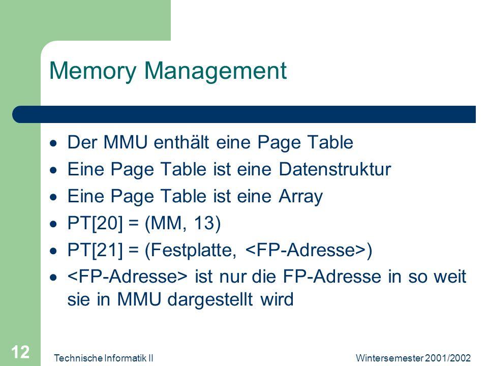 Wintersemester 2001/2002Technische Informatik II 12 Memory Management Der MMU enthält eine Page Table Eine Page Table ist eine Datenstruktur Eine Page