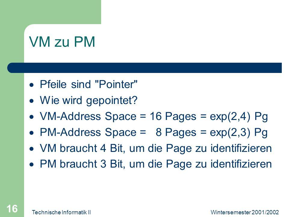 Wintersemester 2001/2002Technische Informatik II 16 VM zu PM Pfeile sind Pointer Wie wird gepointet.