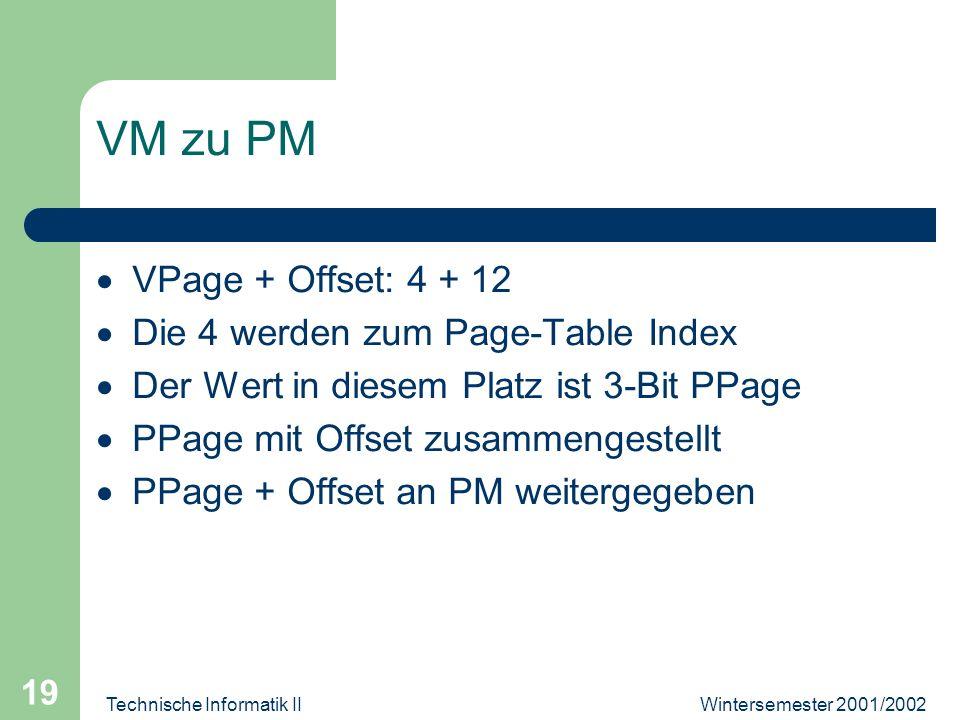 Wintersemester 2001/2002Technische Informatik II 19 VM zu PM VPage + Offset: 4 + 12 Die 4 werden zum Page-Table Index Der Wert in diesem Platz ist 3-B