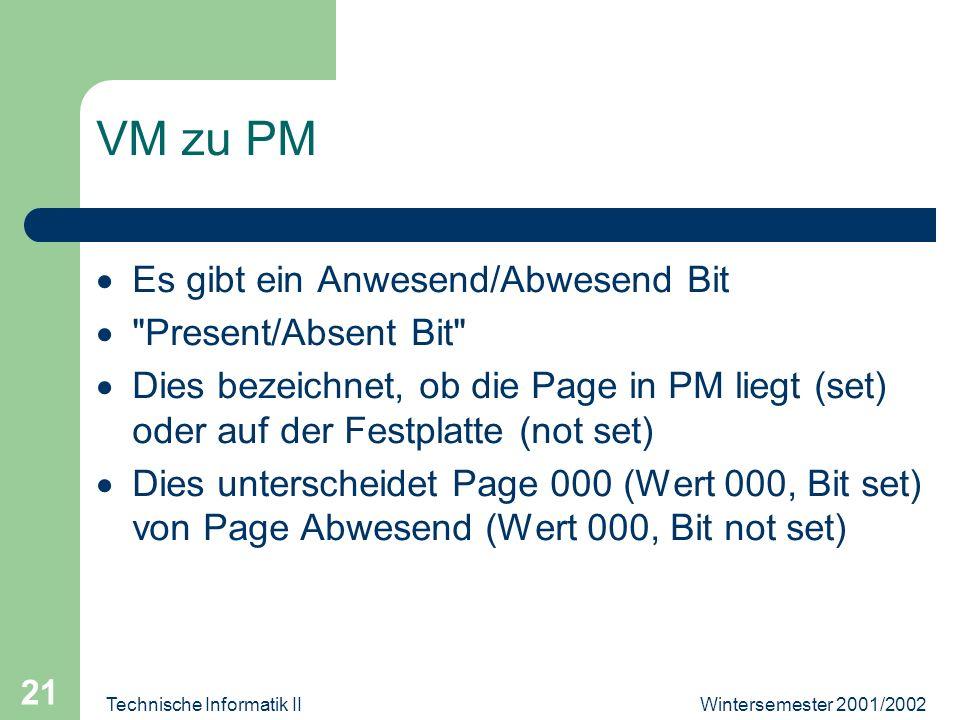 Wintersemester 2001/2002Technische Informatik II 21 VM zu PM Es gibt ein Anwesend/Abwesend Bit